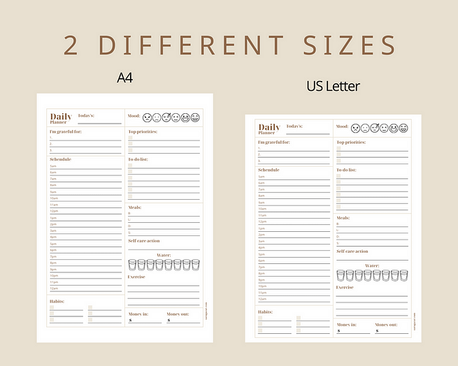 2 different sizes - A4 & Letter
